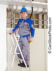 Young Worker Man With Hard Hat standing on ladder