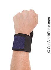 Close Up Of Man Wearing Wrist Brace - Close Up Of Man...