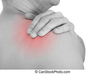 Man With A Shoulder Ache Isolated Over White Background