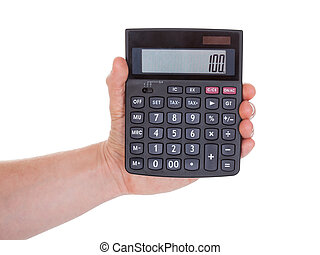 Male Hand Holding Calculator - Close-up Of Male Hand Holding...