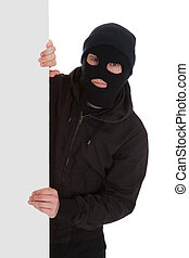 Bandit In Black Mask With Blank Card - Man Wearing Mask...