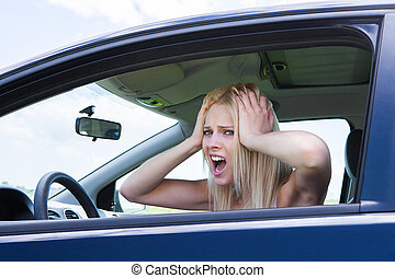 Frustrated Woman Screaming Sitting In Car - Portrait Of...