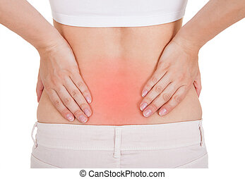 Woman having back pain - Close up of woman having back pain...