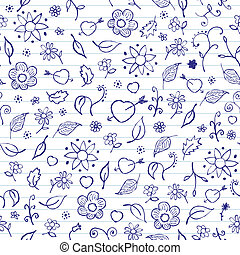 Valentines Day Seamless Pattern - Hands drawn notebook...