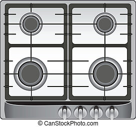 Gas stove - The upper part of the modern gas stove four...