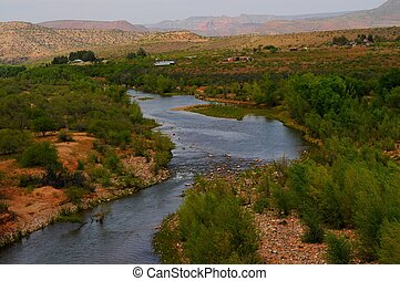 Verde River Valley - Verde river valley and distant...