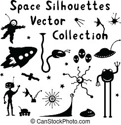 Space Silhouettes - Collection of space silhouettes. Vector...