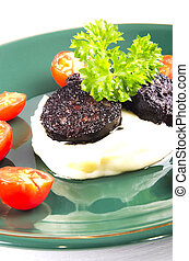 mashed potato and black pudding - mashed potato and home...