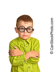 Angry little boy in funny glasses