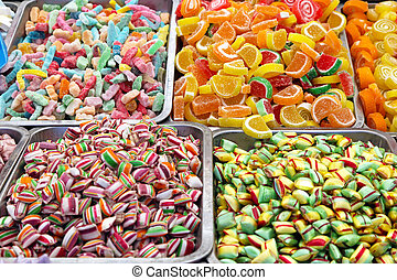 Candies - Bulk of colourful gummi candies at market