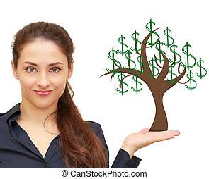 Beautiful woman holding on hand money tree with green...