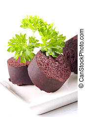 home made black pudding with parsley - home made irish black...