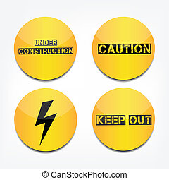 Caution signs - Caution under construction button