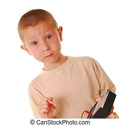 Boy Scientist - Young boy using a volt meter isolated