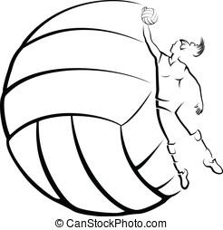 voleibol, jogador, voleibol, B