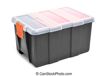 plastic organiser with storage compartments on a white...