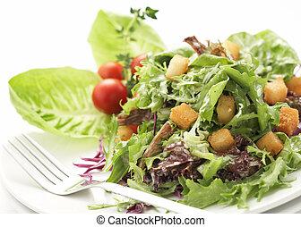 primer plano, verde, ensalada