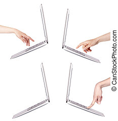 laptop with woman hand isolated set
