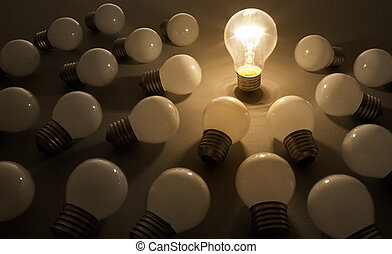 bulb 2 - one light bulb shines on others, leader