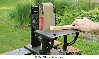 upright sander - using an upright sander to smooth a rough...