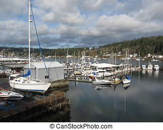 Gig Harbor 1 - Boats in Gig Harbor, WA, on a calm cool day...
