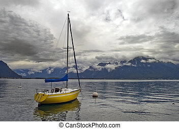 lonely yacht on Lake Geneva