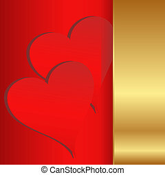 two hearts on red and gold background