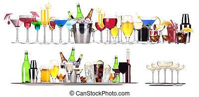 Set of different alcoholic drinks and cocktails -...