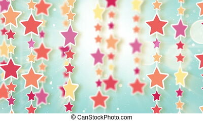 montage of dangling colorful stars
