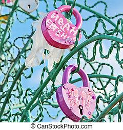 Tree of Love, Luzhkov Bridge. Moscow, Russia. Padlocks in...