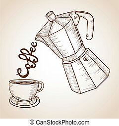 Coffee jar and cup illustration