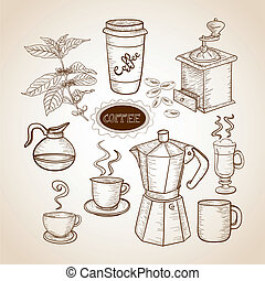 Coffee elements hand drawn illustration - Vintage coffee...