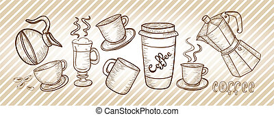 Coffee set drawing - Coffee elements stripes background This...