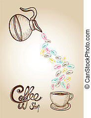 Coffee colorful sketch style beans illustration - Vintage...