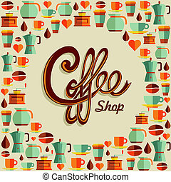 Coffee flat icon poster illustration - Vintage coffee shop...