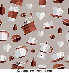Coffee flat icons illustration - Coffee flat icons seamless...