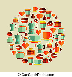 Coffee elements illustration - Coffee flat icons elements...