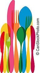Cutlery pattern illustration - Vintage colorful dishware...
