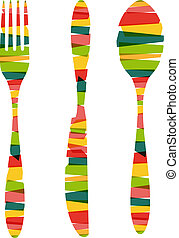 Cutlery shapes of stripes illustration - Vintage colorful...