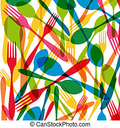 Cutlery seamless pattern illustration - Vintage colorful...