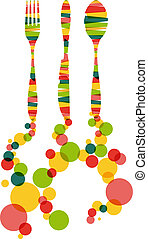 Cutlery silhouettes illustration - Colorful dishware and...