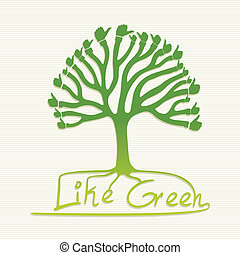 Green thumb up tree illustration - Eco friendly thumb up...