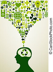 Eco friendly icons illustration - Think eco energy icons...