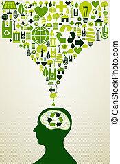 Eco friendly icons illustration - Think eco energy icons...