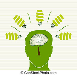 Green life concept head illustration - Eco friendly light...