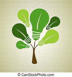 Green life tree illustration - Eco friendly renewable energy...