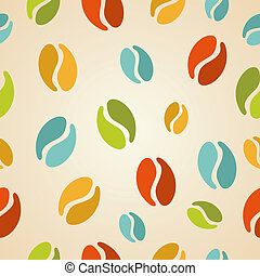 Colorful coffee beans seamless pattern illustration -...