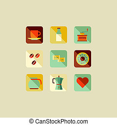 Coffee flat icons concept illustration