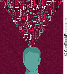 Music notes human man head illustration