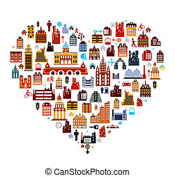 Vector townhouses built as heart on white background